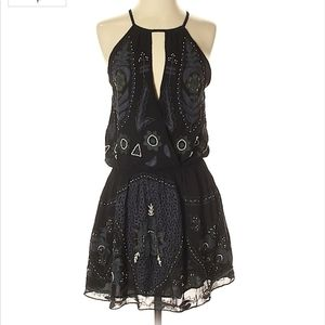 Free People NWOT embroidered beaded dress small